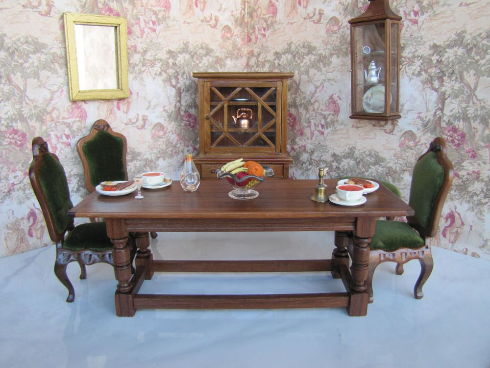 FILE UNDER Signed GERALD CRAWFORD  Starts at $300.00 yes there's a bid.  William & Mary Dining Library Table in Dolls & Bears, Dollhouse Miniatures, Artist Offerings   eBay