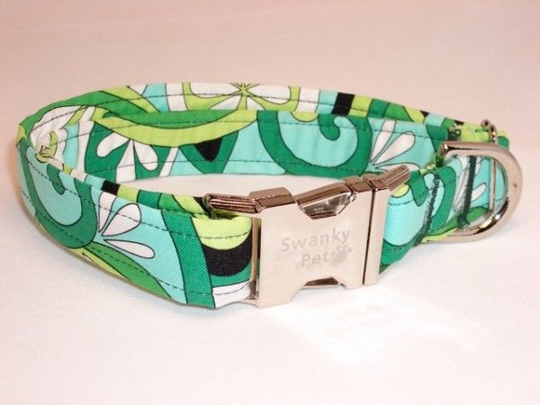 Funky fabric collar (matching leash available).