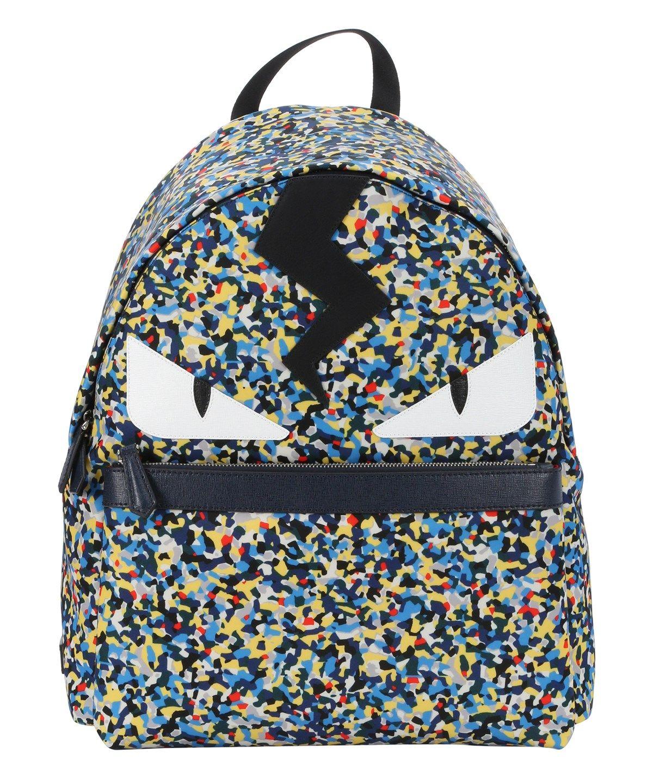 10e5c8541b75 FENDI Blue And Yellow Splatter Nylon Monster Face Backpack .  fendi  bags   leather  lining  nylon  backpacks