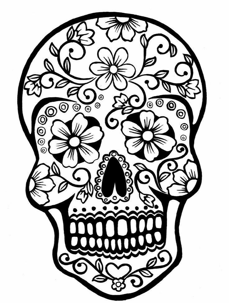 Pin by Crystal Craft on SVG FILES Skull coloring pages