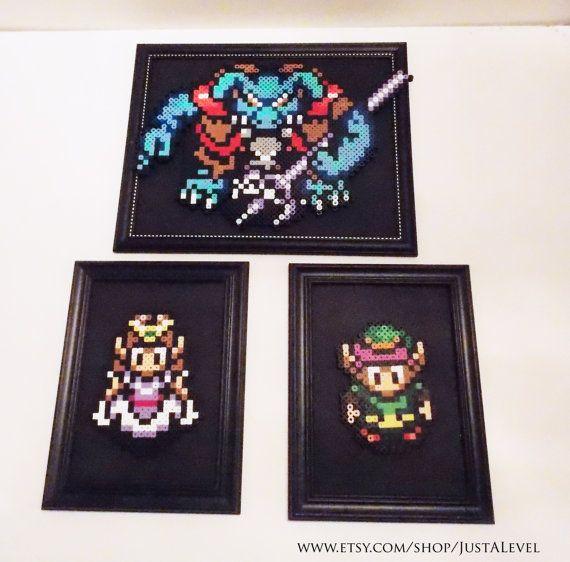 Legend Of Zelda Link, Zelda And Gannon Framed Sprites (Set