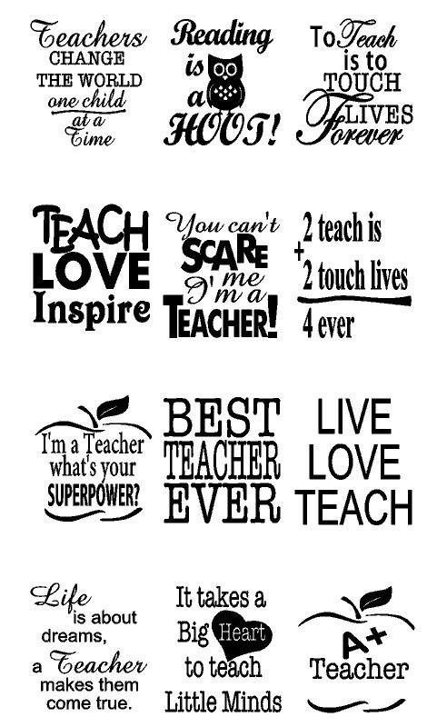 Short Teacher Quotes Teacher Appreciation Decals | 12 Quotes + 4 Personalized Names  Short Teacher Quotes