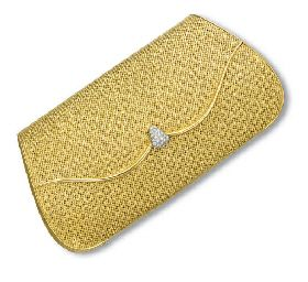 AN 18K GOLD AND DIAMOND EVENING BAG  Of wedge-shaped gold basketweave design, the hinged flap enhanced by a brilliant-cut diamond pear-shaped pushpiece, opening to reveal a fitted mirror, 18 x 10 cm.