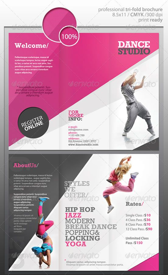 Dance Studio Brochure I like it but change the pictures and styles - studio brochure