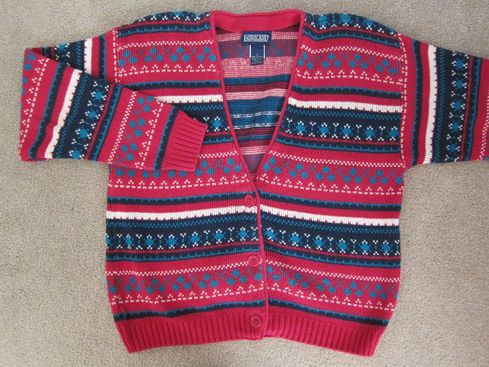 Lands End Nordic Cardigan Sweater Fair Isle Vtg Girls Large 12 14 ...