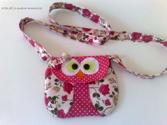 Bolsa De Tecido Decorada Com Coruja : Linda bolsinha de tecido com a carinha da coruja dentro