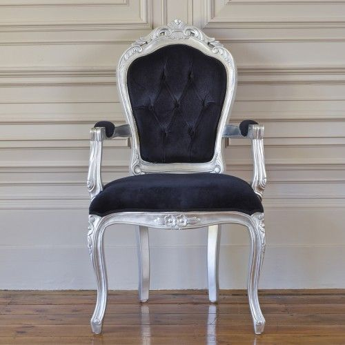Rococo French armchair finished in silver leaf with black velvet ...