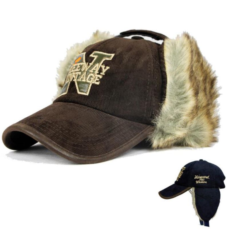 winter baseball cap with flaps classic hat rabbit fur men letters ear flap fashion