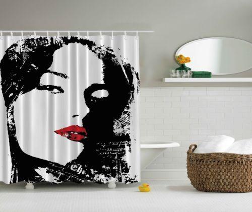 Woman Shower Curtain Face Red Lips Black Fabric Digital Print Bath