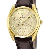 9637b135c031 Reloj dorado con correa de cuero. Estilo elegante para hombre ...
