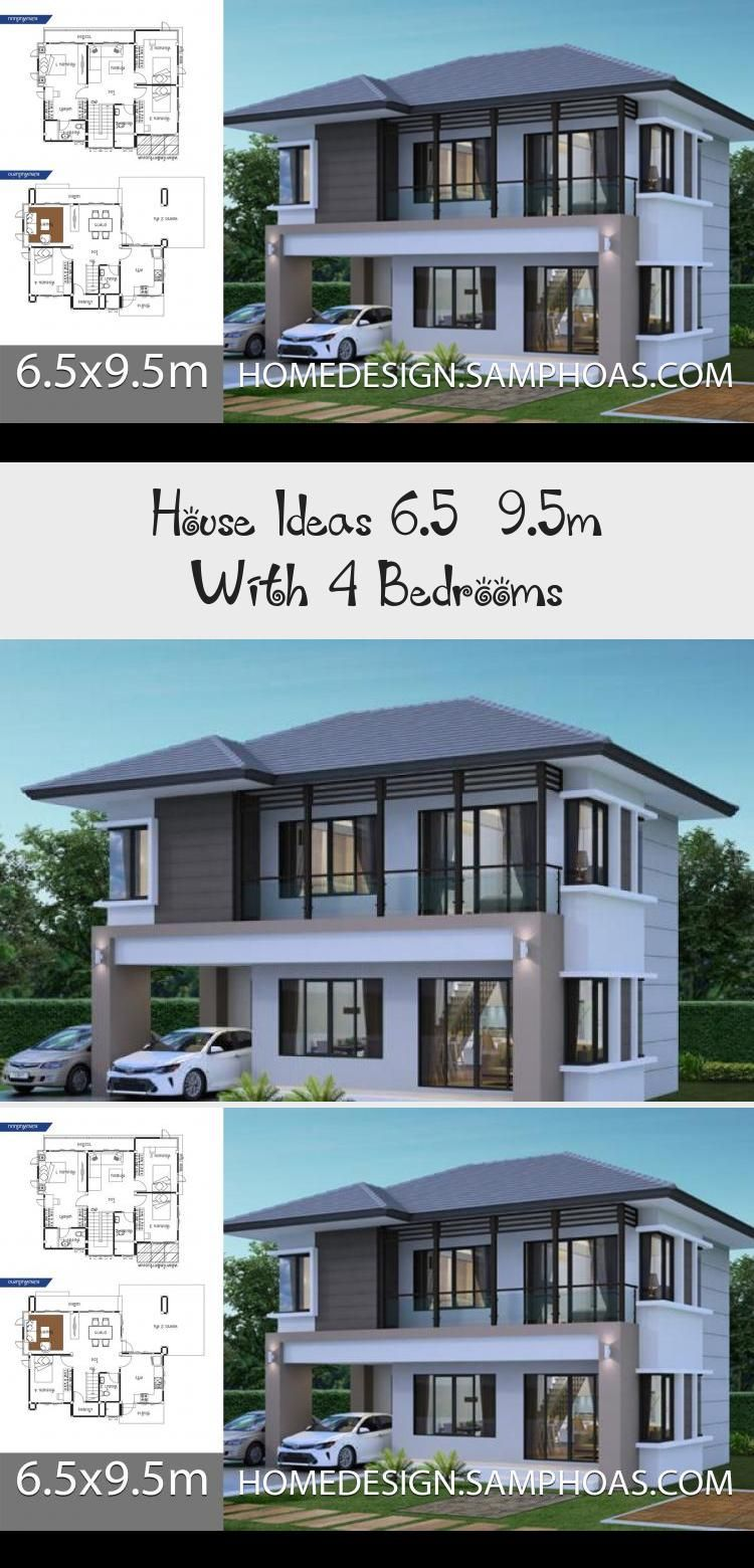 House Ideas 6 5x9 5m With 4 Bedroomshouse Description Ground Level One Bedroom One Car Parking Living Room Dining Room Kitchen Floorplans4bedroomunique F In 2020