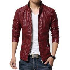 chaquetas de cuero rojas para hombre