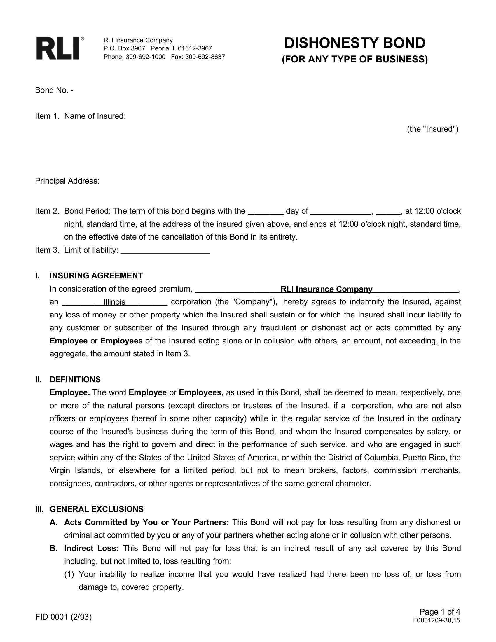 washington dc business services dishonesty surety bond | surety
