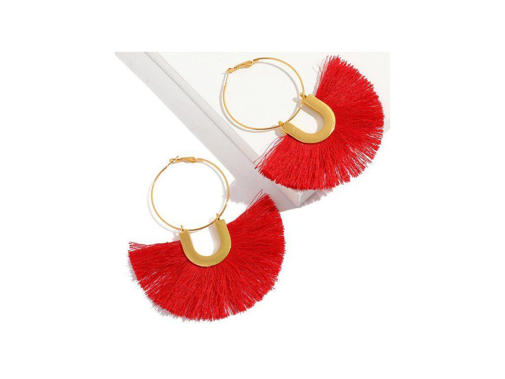 a2bdb6ada Dámske visiace náušnice so strapcom, červená a zlatá farba - bižutéria