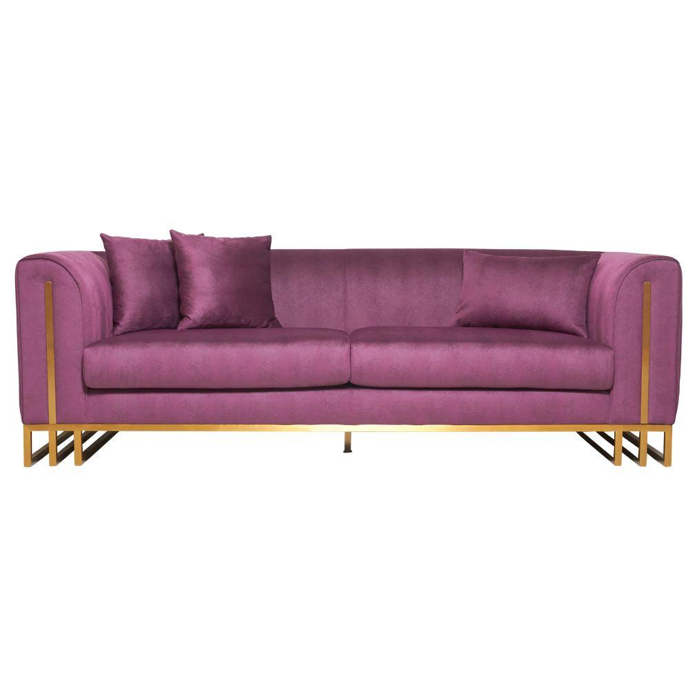 Silvano 3 Seater Velvet Sofa Purple Matt Blatt In 2020