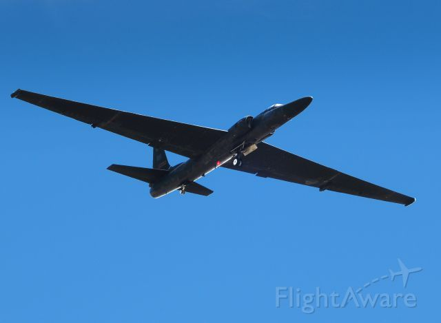 Reconnaissance flight, mission almost over as this U-2 is on short final for runway 33 at Beale AFB, California.