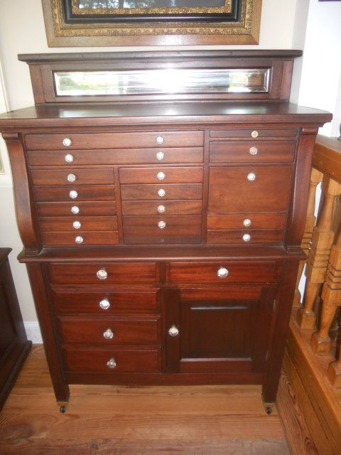 Antique mahogany dental cabinet. Love things with little drawers ...