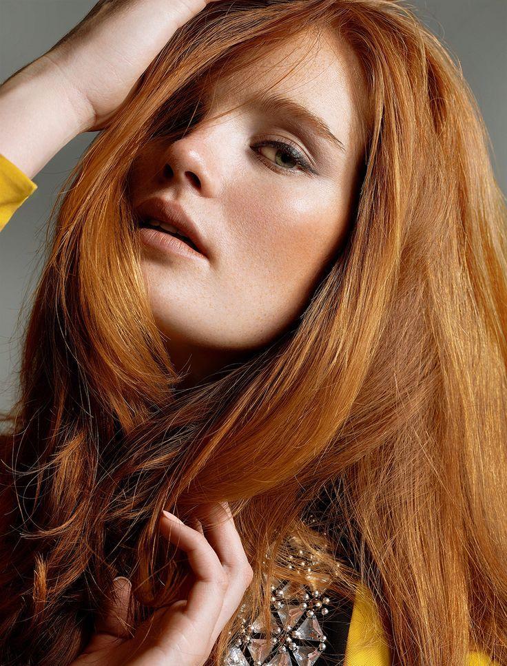 Coloration blonde sur cheveux roux