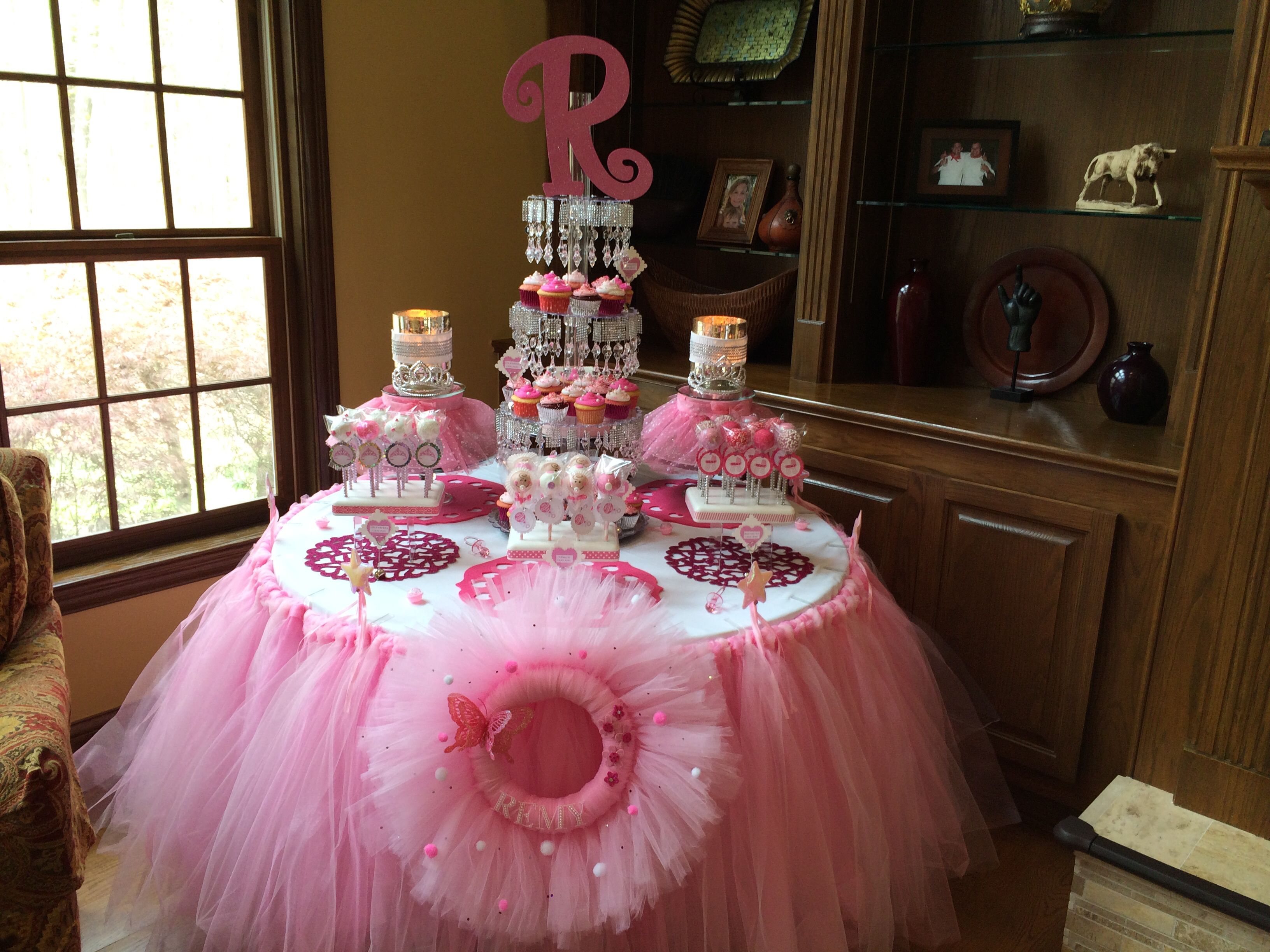 Pretty In Pink Tulle Baby Shower Treat Table Baby Shower Sweets Table Baby Shower Sweets Baby Shower Treats