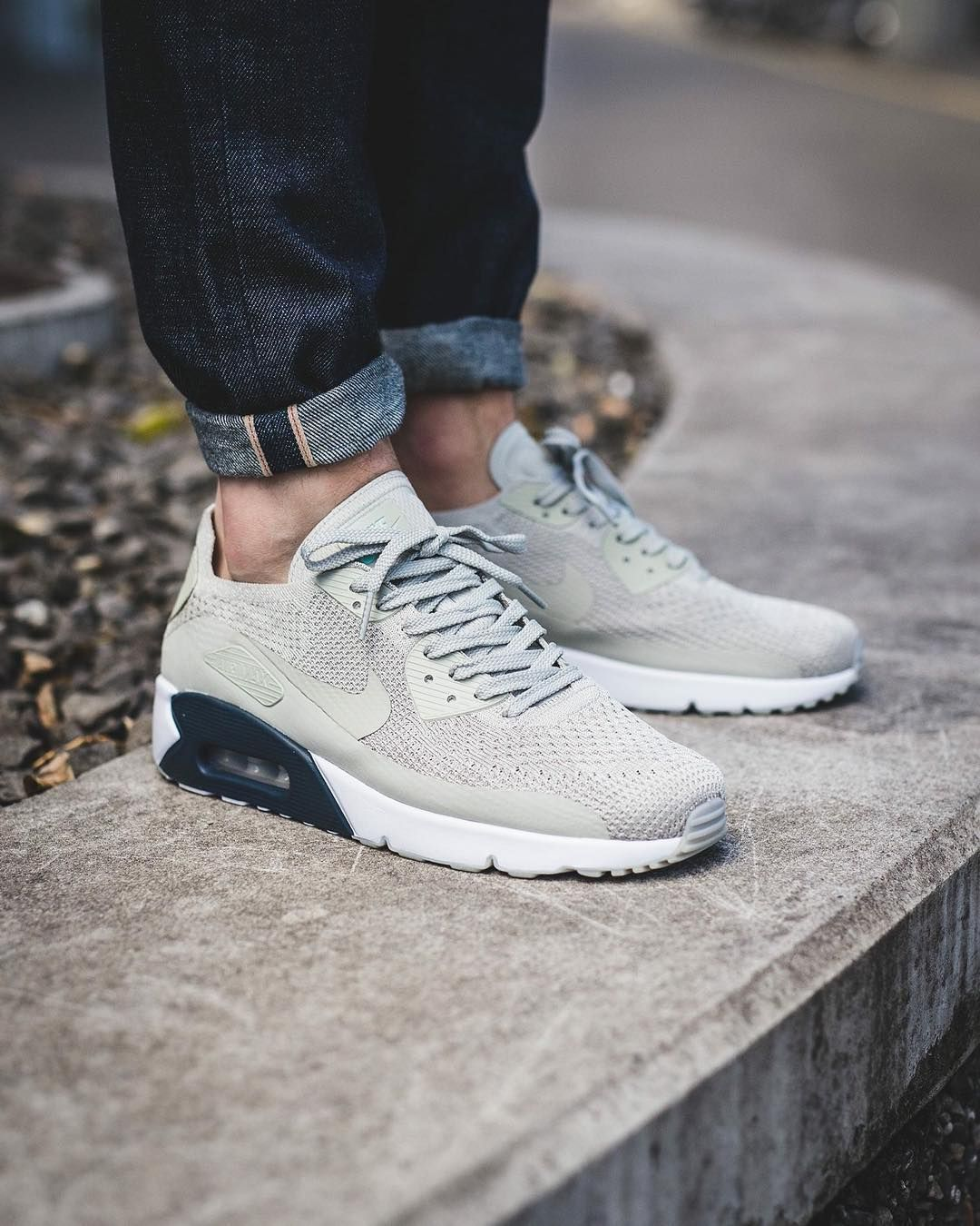 NIKE Chaussures Air Max 90 Ultra 2.0 Flyknit, Blanc, 9.5 US