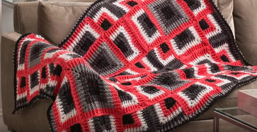 Red Heart Dynamic Squares Crochet Throw Class