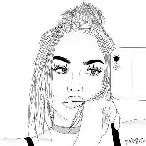 Black And Girl Erika Drawing White Outline Costell Tumblr
