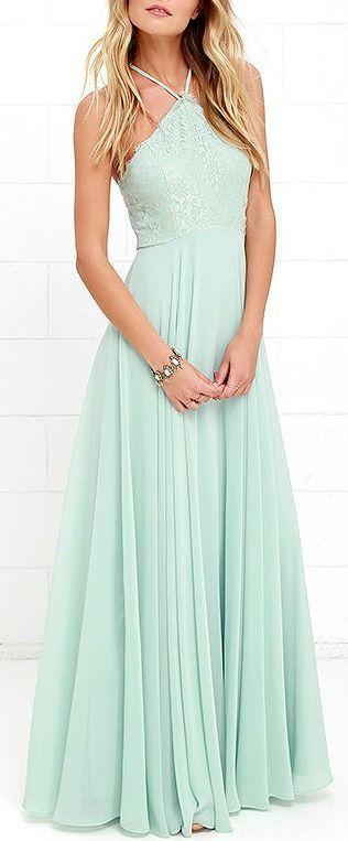29f625f596c4 2017 Custom Charming Mint Green Prom Dress,Sexy Halter Evening Dress,Long  Chiffon Prom Dress