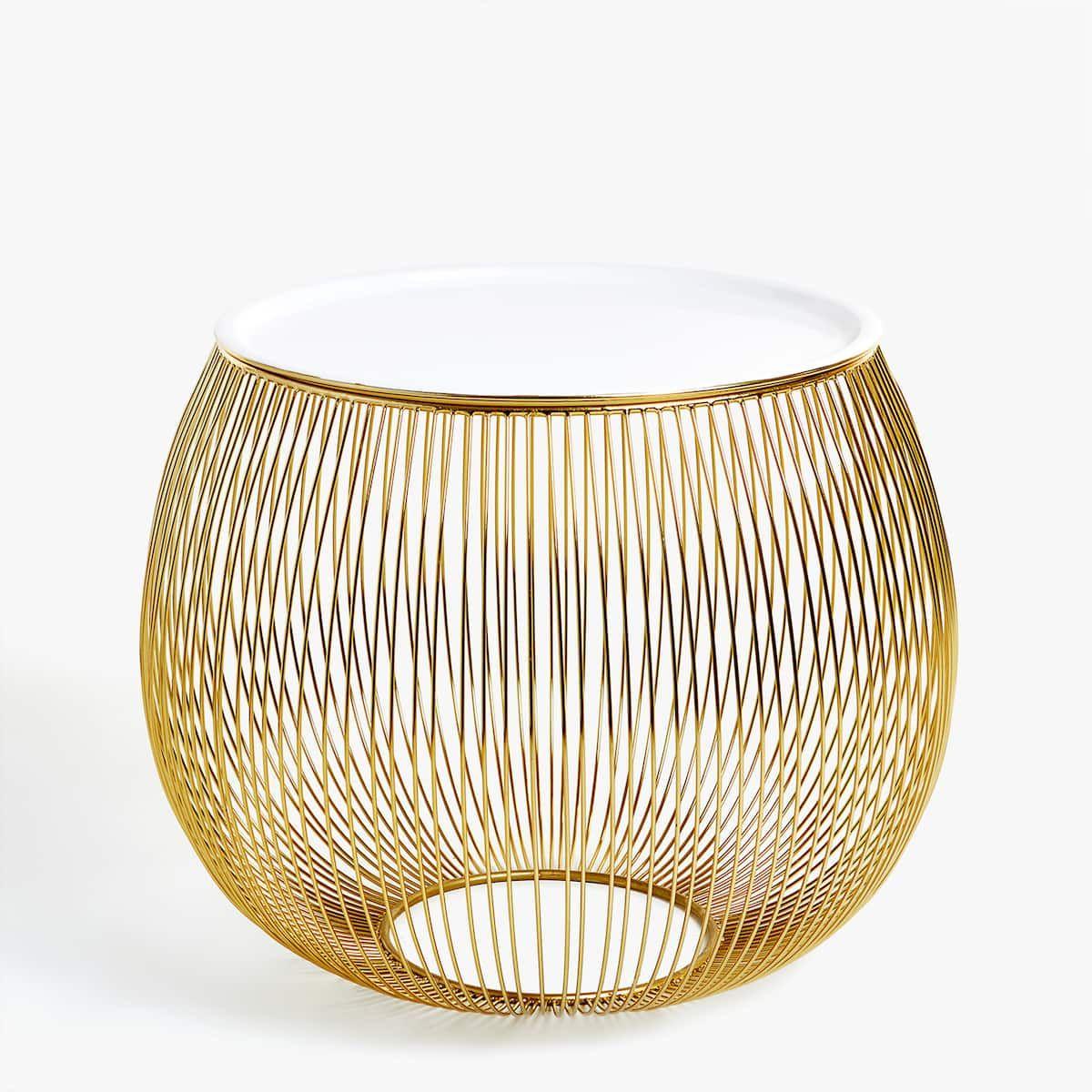 Bild 1 Des Produktes Beistelltisch Aus Goldfarbenen Metallstaben Zara Home Gold Home Decor Zara Home Table