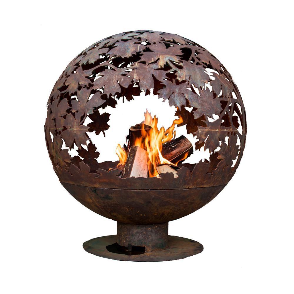 Esschert Design Leaf 32 In X 36 In Round Metal Wood Burning Fire Pit In Rust Ff1014 The Home Depot Fire Pit Globe Wood Burning Fire Pit Outdoor Stone Fireplaces