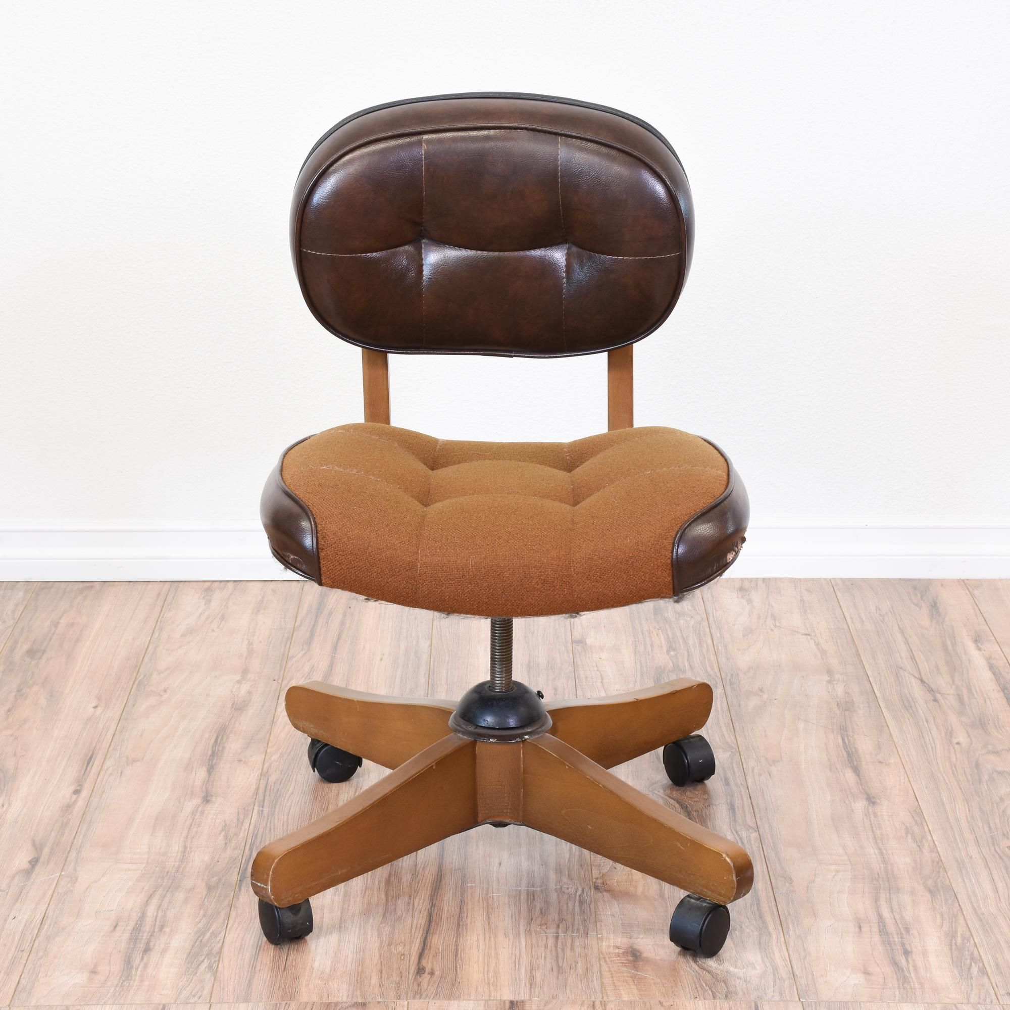 Cool Retro Office Chair Featured In Brown Leather And Brown Tweed Fabric.  Twists To Raise And Lower Seat Height. Some Wear, Pictured.