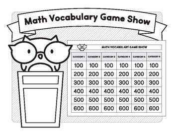 Math Vocabulary Game Show (A No Prep Activity