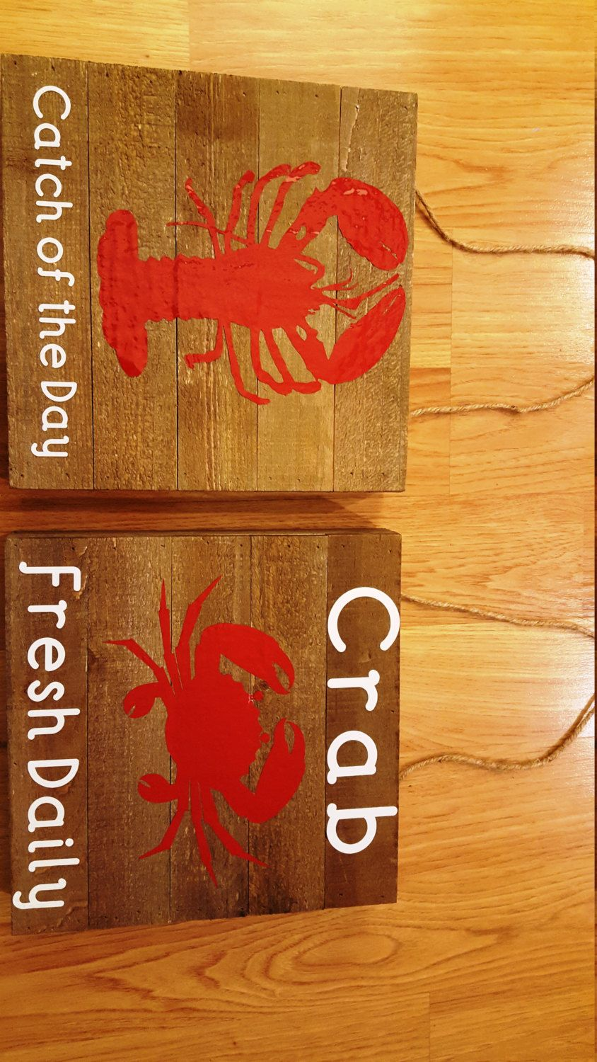 Lobster and Crab wood signs by BellabooBySue on Etsy