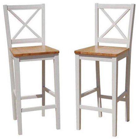 Virginia Cross-Back 30 inch Bar Stool, Set of 2, Multiple Colors - - 30 Inch Bar Stools With Back Show Home Design