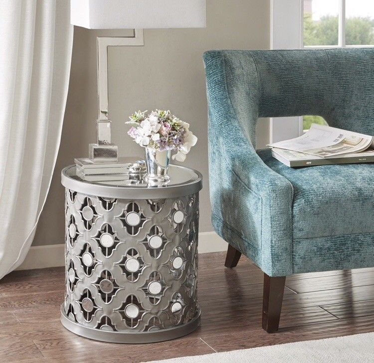 Glam Mirrored Small Accent Table Silver Round End Side Drum Table