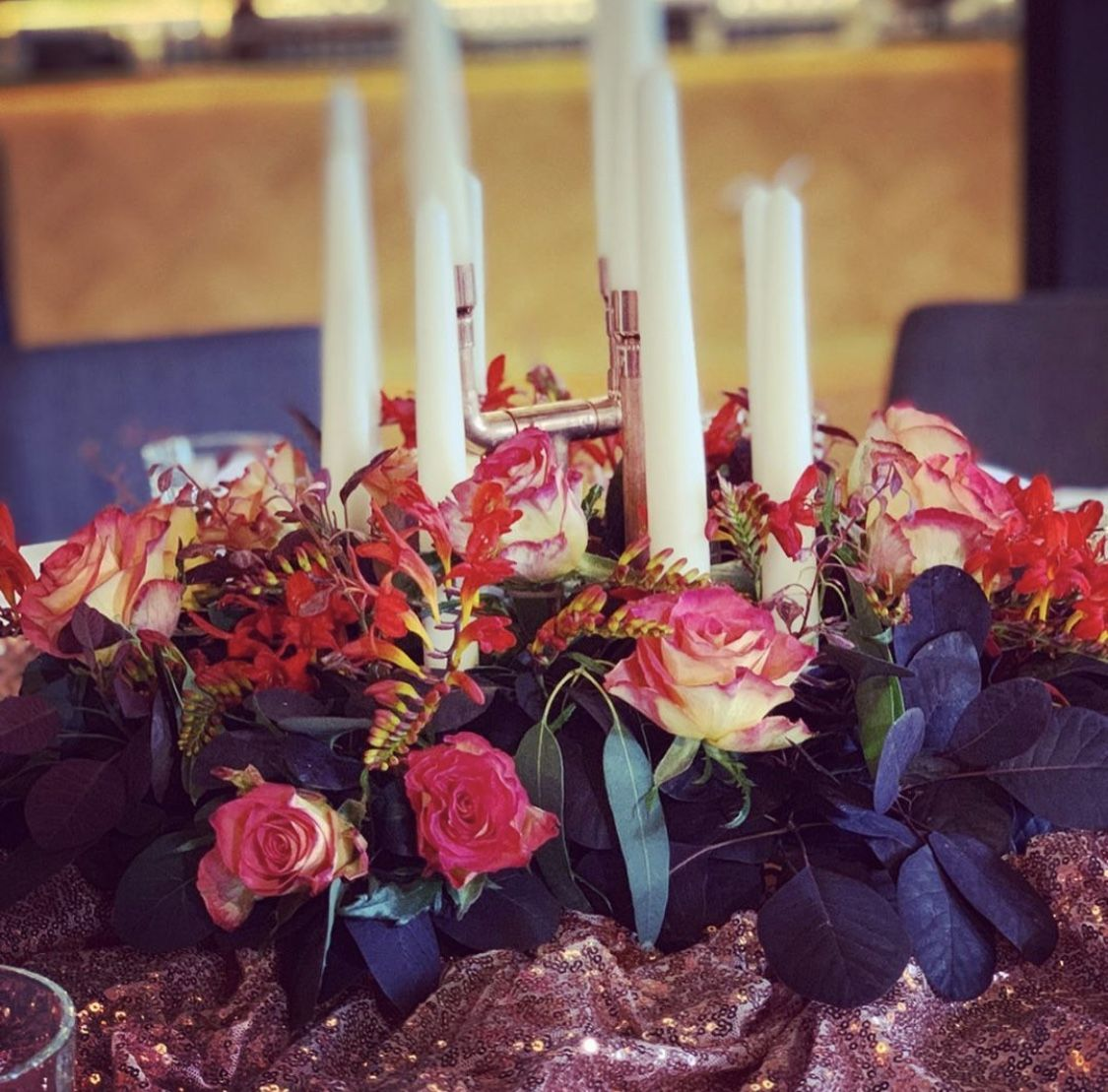 Copper Candelabra Centrepiece  #pinterestwedding