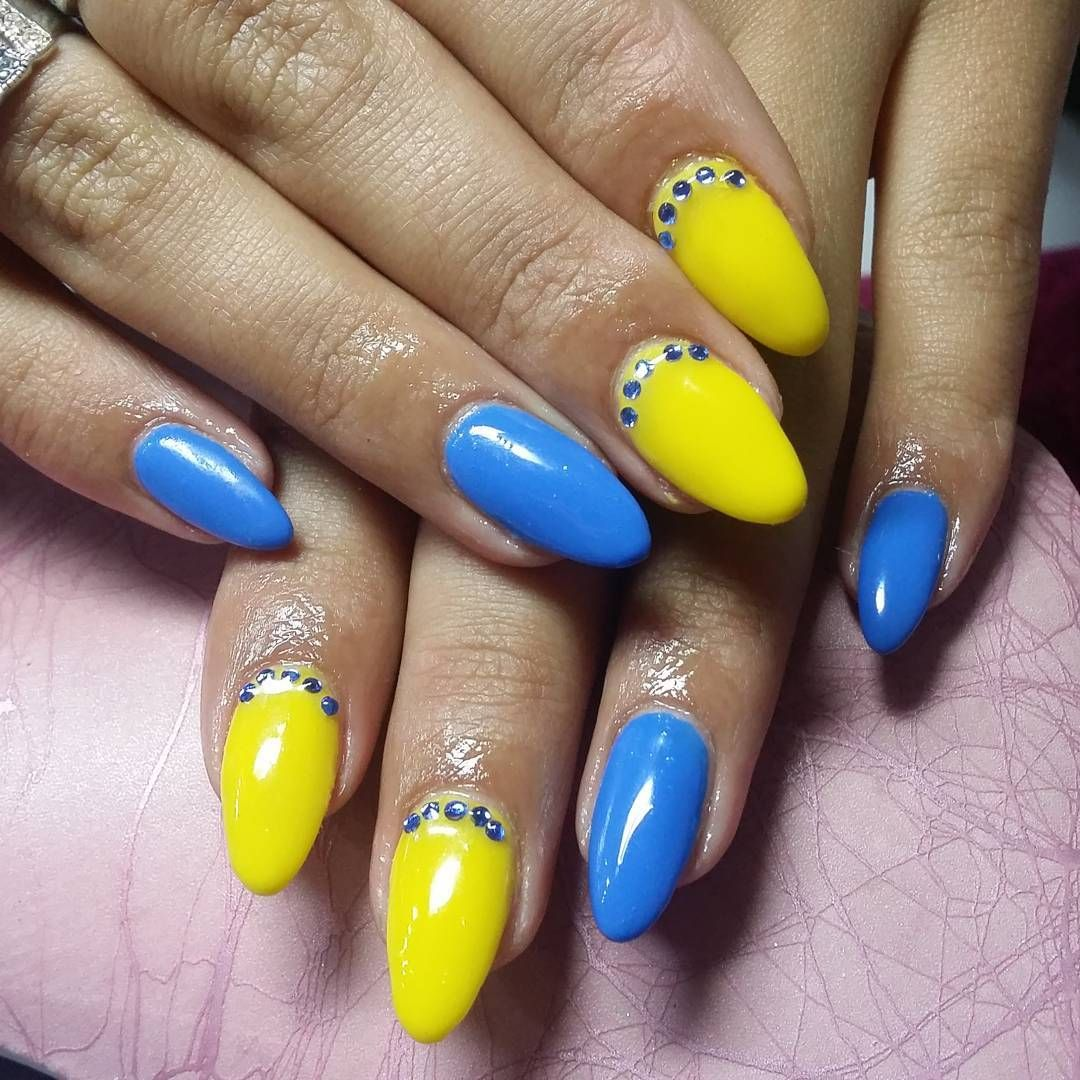 дизайн ногтей синий с желтым - Тюменский издательский дом