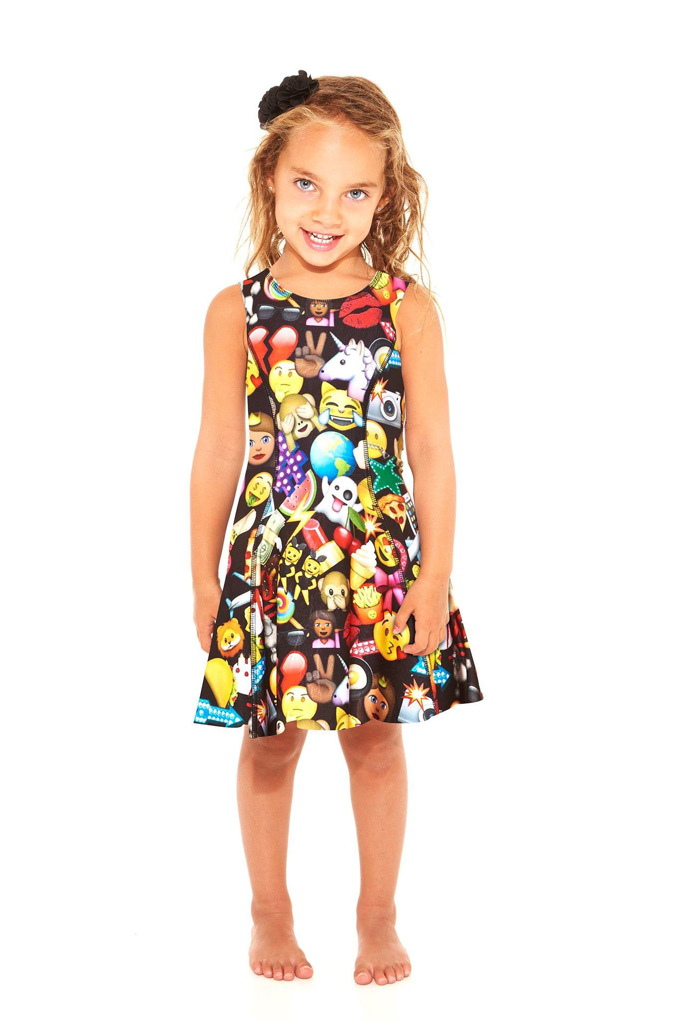 7ae9f021ac16e Kids 100% Emoji Skater Dress | emojis | Dresses, Skater dress, 100 emoji
