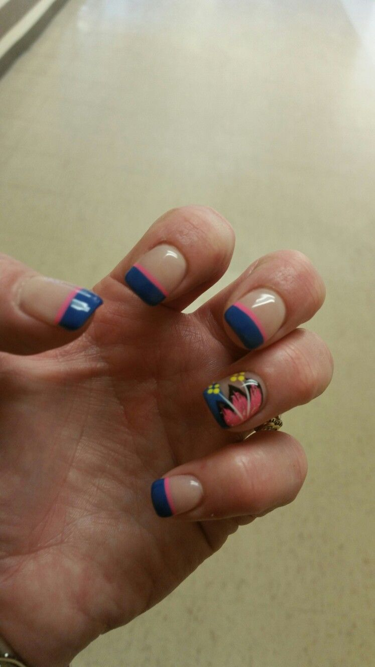 May 2016 nails. Spring nails. Blue gel french manicure with pink ...