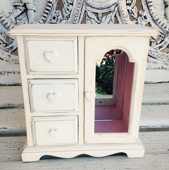 JEWELRY BOX Cottage White Jewelry Wood Chest Jewelry Armoire Small