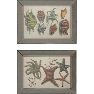 Creative Co-Op Waterside Sea Creature 2 Piece Framed Wall Art Set