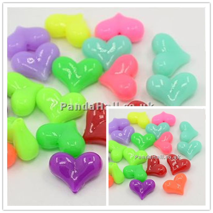 http://www.pandahall.co.uk/PromotionList.html Acrylic Beads, UV Plating, Heart, Mixed Color, 23x17x9mm