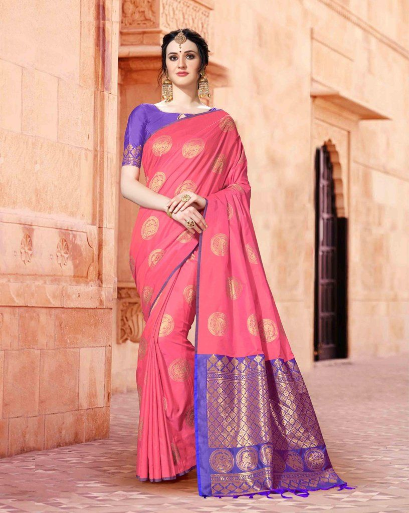 dd14375084b73b LIGHT PINK SOUTH SILK SAREE WITH ZARI WEAVING AND CONTRAST BLOUSE ...
