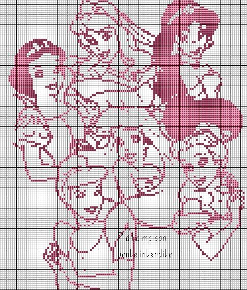 Les 6 princesses en grille monochrome point de croix - Grille point de croix alphabet disney ...