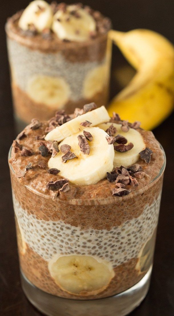 Banana Cacao Chia Seed Pudding Parfait Recipe | Chia Recipes #chiaseedpudding
