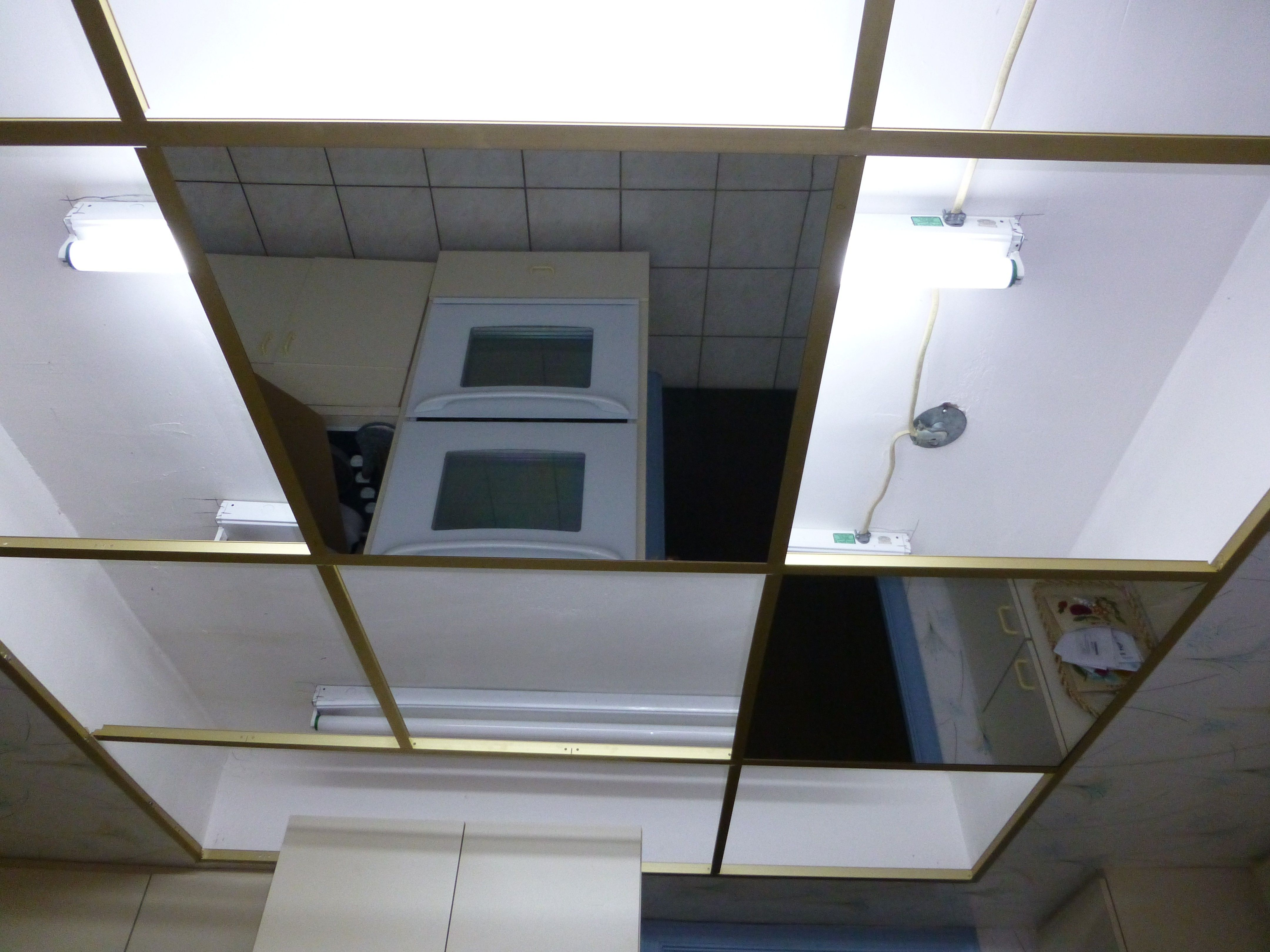 Glass mirror ceiling tiles