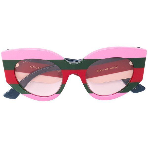 Gucci Eyewear Striped Logo Sunglasses ($500) Liked On