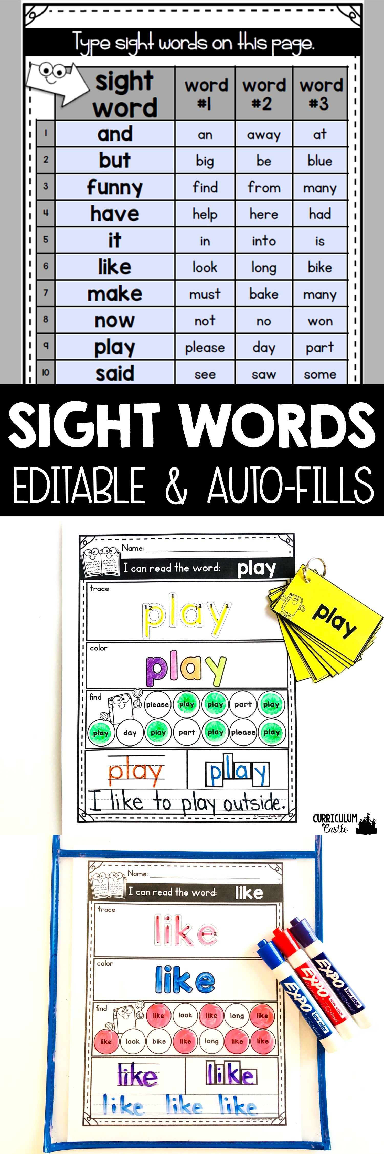 Sight Word Worksheets Editable