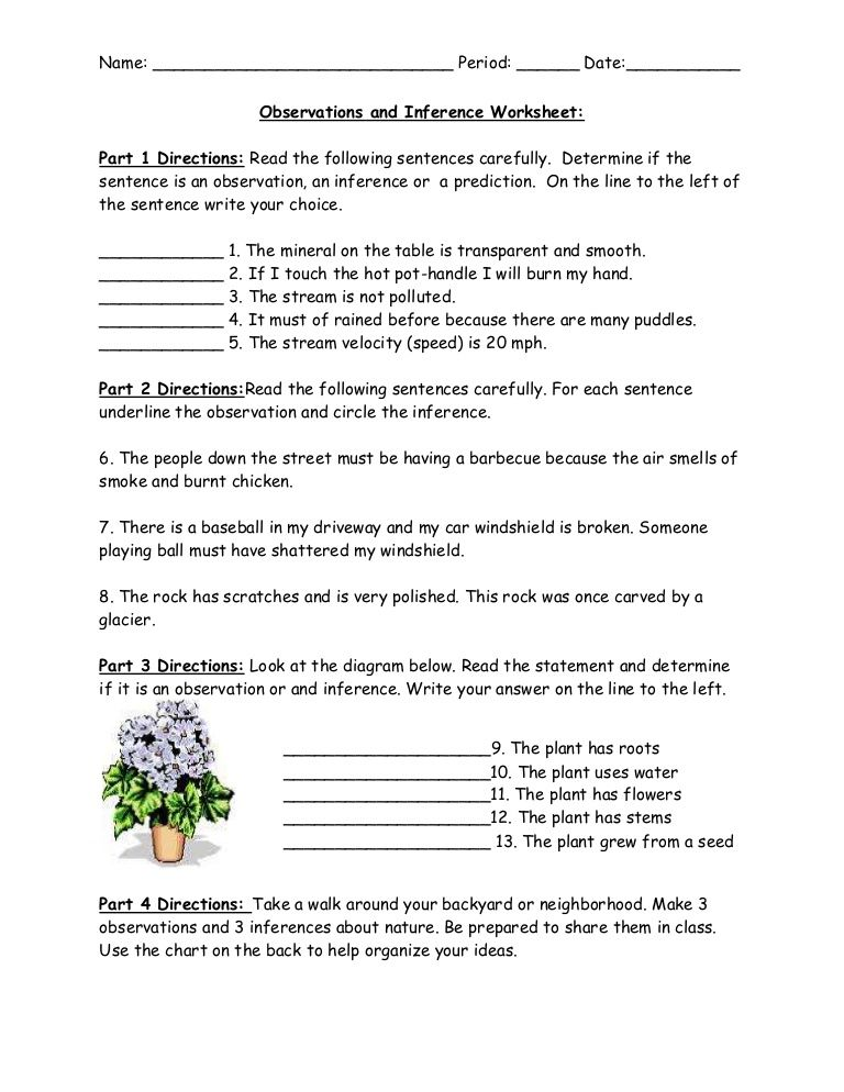 Observations And Inference Worksheet By West Hollow Ms Ms Gill