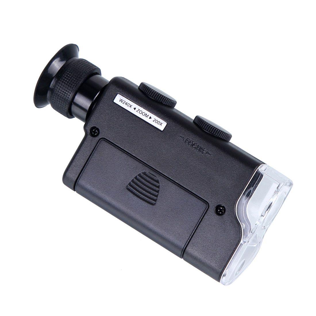 Mini Portable Microscope Pocket 200x 240x Handheld Led Lamp Light Loupe Zoom Magnifier Magnifying Glass Pocket Le Pocket Microscope Lamp Light Magnifying Glass