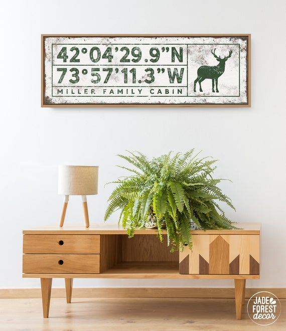 Photo of cabin COORDINATES sign with deer > personalized country lodge decor wall art, forest green canvas ar